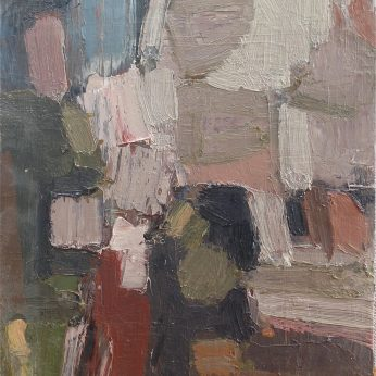 'Composition with Figures' (2012). 40cm x 36cm. Oil on Board. SOLD