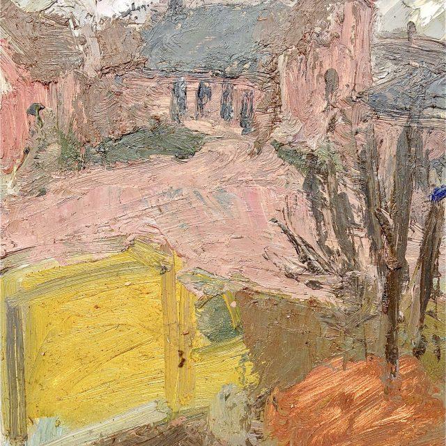 'Blenheim Church with Yellow Van' (1994). Oil on Board. 46cm x 35cm. POA