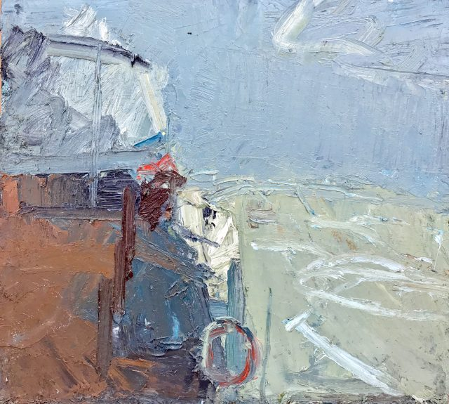 'Cliff Landscape' (1988). Oil on Board. 46cm x 51cm. £650