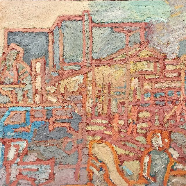 'Southend Green and the Royal Free Hospital' (1974). Oil on Board. 123cm x 185cm. POA