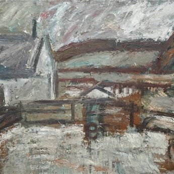 'Newlyn from North Corner - Winter Morning' (1987). 153cm x 184cm. Oil on Canvas. SOLD