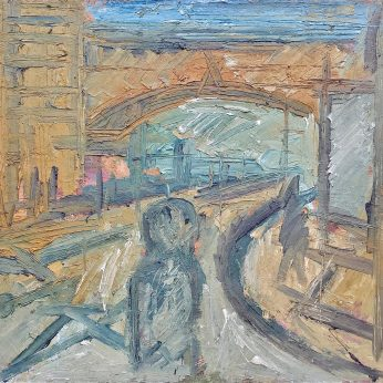 'Railway Bridge - Gospel Oak' (1985). Oil on Board. 107cm x 132cm. SOLD