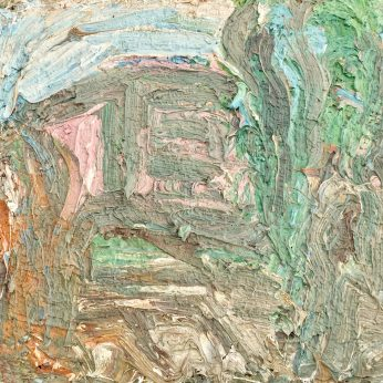 'Small Landscape with Pink Building' (1996). Oil on Board. 21cm x 31cm. SOLD
