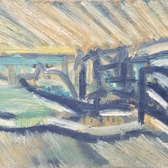 'View of Newlyn' (1982). Oil on Board. 116cm x 146cm. POA