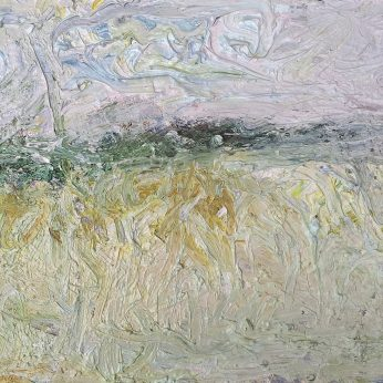 'Fields Near Dartington' (2014). Oil on Board. 25cm x 31cm. SOLD