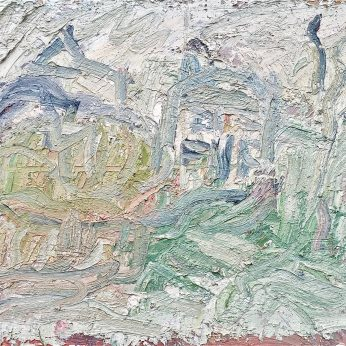 'Houses by the Sea' (2000). Oil on Board. 60cm x 72cm. POA