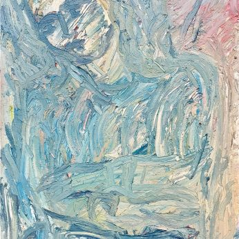 'Partou Wearing Blue' (1999). 122cm x 82cm. Oil on Board. SOLD