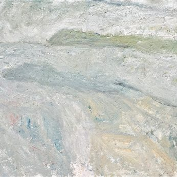 'Grey Headland' (2000). As exhibited in Tate St. Ives solo exhibition. 122cm x 158cm. Oil on Board. SOLD