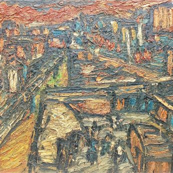 'Winter Sunset over Dalston Junction' (1972). 130cm x 200cm. SOLD
