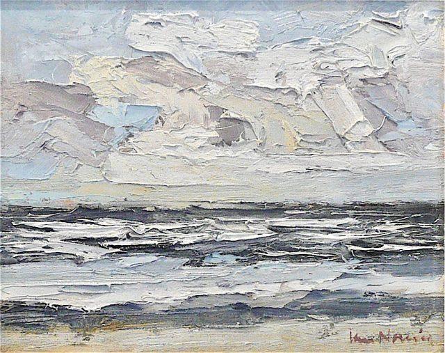 'Formby Sands: Winter Light II'(2012). Oil on Board. 23cm x 29cm. POA