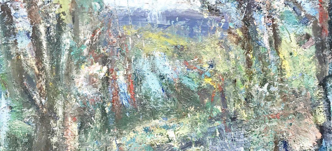 'Across the River from the Studio - Winter' (2017). 47cm x 61cm. Oil on Board. POA