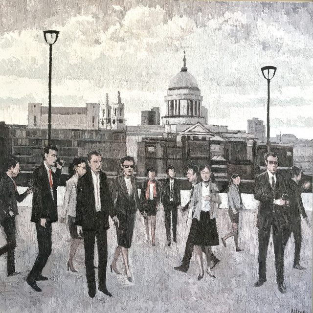 'St Paul's from the South Bank.' (2018). Oil on Board. 180cm x 180cm within hand laid, white gold leaf frame. £24,000 (London CARBON Collection at Watford FC)